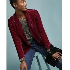 Anthropologie Berry Velvet Blazer
